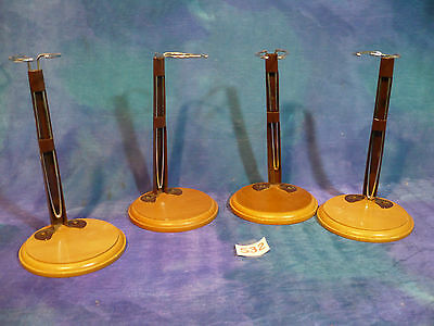 Vintage Antique Bisque Doll Preowned Metal Stands: 4 Medium w Wood Bases S32