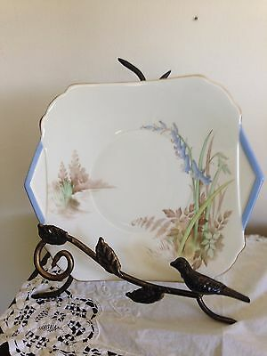 Shelley Cake Plate Bluebells with Blue and Gold Trim