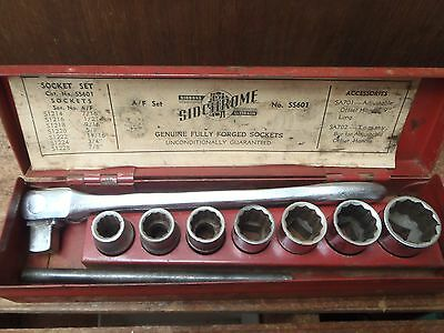 "Vintage Sidchrome 8 Pce AF Socket Set, 1/2"" drive, Range 7/16-7/8, Made in Aust"