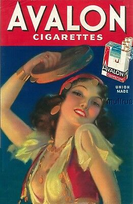 1930/40 Vintage Avalon Cigarettes Paper Sign Art Deco Graphics Gypsy Union Made