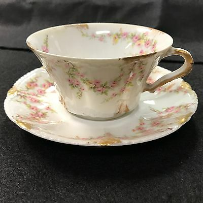 Theodore Haviland Limoges France  Pink Yellow Roses Schleiger Cup & Saucer