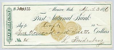 Revenue Stamped Bank Ck. / First National Bank - Monroe Mich. 1876