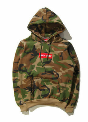 Supreme Box Logo Camouflage Men Hoodie Unisex Hooded Sweatshirt Pullover Jumper+