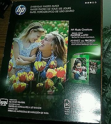 NOS New Old Stock HP Everyday Glossy Photo Inkjet Paper 8.5x11- 50 sheets-Q8723A