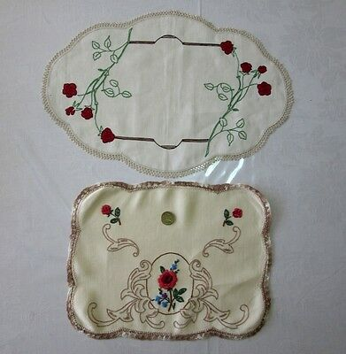 2 x Vintage linen hand embroidered centre doilies, beautiful, hardly used EC