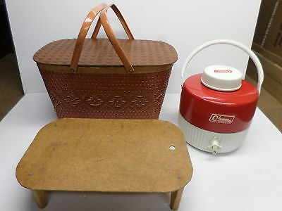 """Vintage """"RED MAN"""" WICKER PICNIC BASKET with CAKE TRAY/""""COLEMAN THERMOS"""