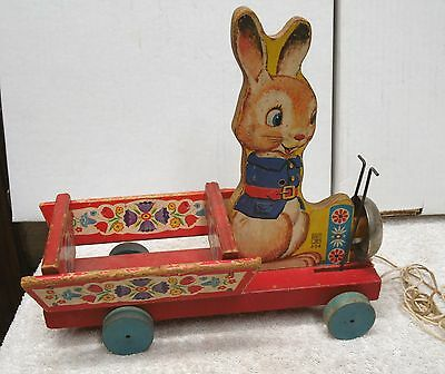 Vintage FISHER PRICE TOYS Wooden RABBIT & CART Wood PULL TOY