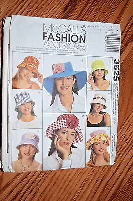 McCall's 3625 HATS 5 STYLES Fashion Accessories OOP HAT PATTERN 3 SIZES UNCUT