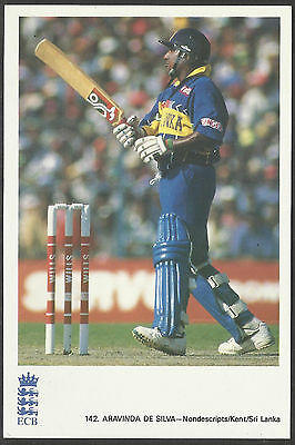 ARAVINDA DE SILVA (SRI LANKA & KENT) OFFICIAL ECB CRICKET POSTCARD No 142