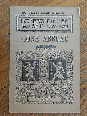 1904 BAKER'S EDITION OF PLAYS GONE ABROAD by EVELYN GRAY WHITING Baker Boston Ma