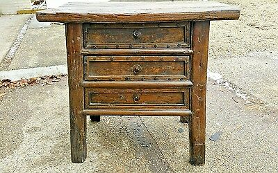Antique Qing Chinese chest of drawers rustic old wood top wrought iron hardware