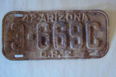1942 Rusty Cochise County Arizona Commercial License Plate As Is