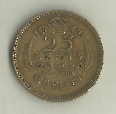 CEYLON 1943 KING GEORGE VI 25c COIN.