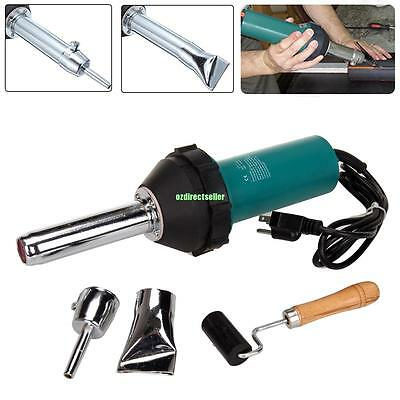 1080W Hot Air Gas Torch Plastic Welding Gun Welder Pistol Tool + Nozzle + Roller