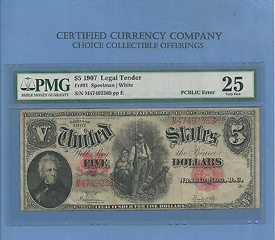 "1907 $5 Legal Tender FR 91 ""Woodchopper"" PCBLIC Red Seal PMG Very Fine 25"