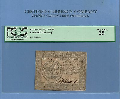 1778 $ 5 Continental Colonial Note Sharp PCGS Very Fine 25 History!