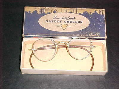 Vintage Bausch & Lomb B&L Steampunk Style Safety Glasses with Original Box