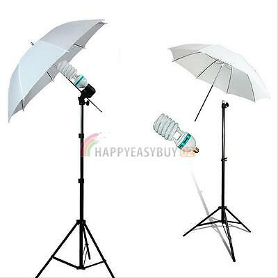 2x135W Photo Studio Umbrella Light Stand Bulb Continuous Lighting Lamp Kit UK