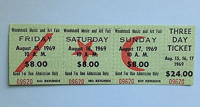 SCARCE MINT 3-DAY TICKET AUTHENTIC WOODSTOCK MUSIC ARTS FESTIVAL 1969 & Photo