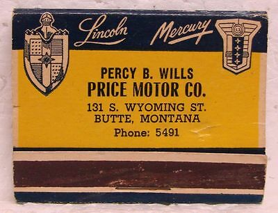 LINCOLN & MERCURY Front Strike Matchbook - Price Motor Co. - Butte, MT