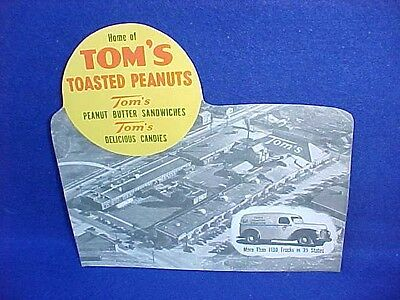 1940s Tom's Toasted Peanut Plant Display Sign, Toms  Jar Store, Lance Gordons