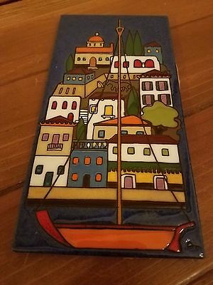 """Italian Ceramic Terracotta Tile 3 7/8"""" Wide & 7 13/16"""" Tall. Signed by AT"""