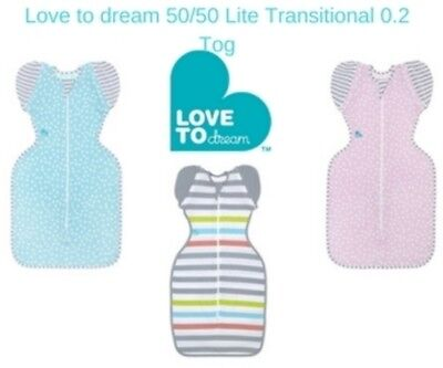 Love to Dream 50/50 LITE 0.2 Tog Transitional Swaddle New Colours Free Shipping