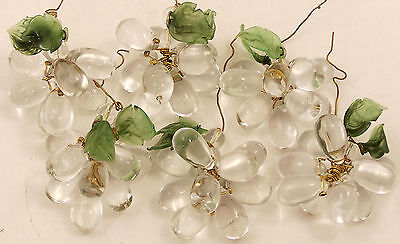 Lot of 6 Clear Glass Grape Clusters with Jade Green Leaves