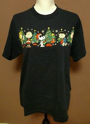 Navy Blue Short Sleeve Peanuts by Schultz T-Shirt Adult Size M