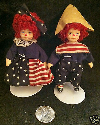"""PAIR of MINIATURE PORCELAIN 4"""" RAGGEDY ANN & ANDY DOLLS with STANDS"""