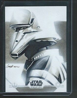 2016 Topps Star Wars Rogue One Charlie Cody SKETCH #1/1 STORMTROOPER