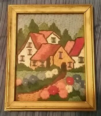 REDUCED!!! Beautiful VINTAGE mini framed COTTAGE GARDEN EMBROIDERY