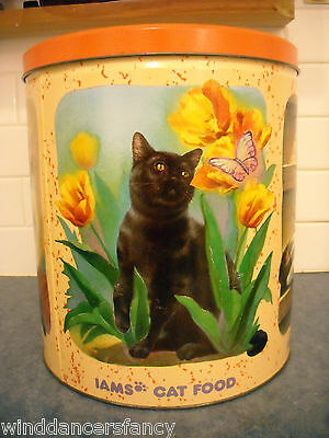 Rare Iams Cat Pet Food Tin Litho Four Seasons 1 Yr 1994 Bombay Maine Coon Calico