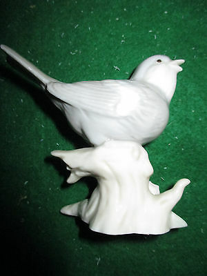 Vintage George Good Gray Bird On Branch With Pink Flower China Figurine
