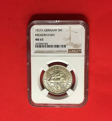 Germany -1927 A -3 Marks Bremerhaven , Certified Bt Ngc-Ms 65.