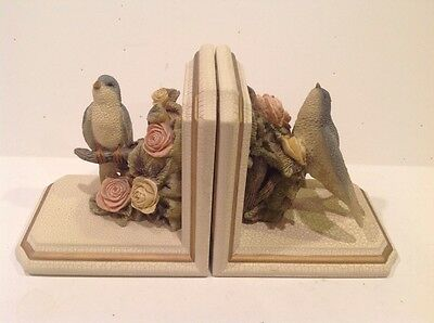 white crackle finish bookends with blue birds and roses