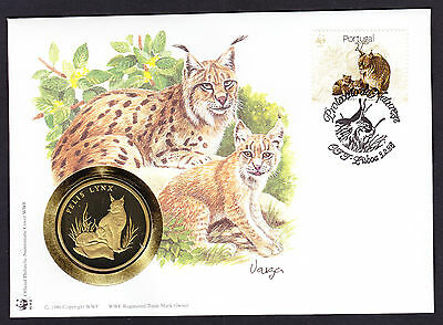 World Wide Fund Lynx Big Cat cover with coin medal Numisbrief WWF 1988 Portugal