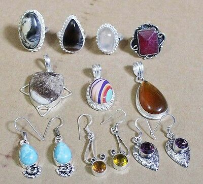 Mix Gemstone Wholesale Lot 925 Sterling Silver Overlay Pendant Rings Earrings