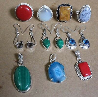 Druzy Gemstone Wholesale Lot 925 Sterling Silver Overlay Pendant Rings Earrings
