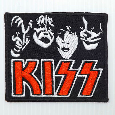 1p.x kiss 4 faces rock music band embroidered iron on sew patch badge apparel