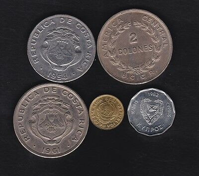 Costa Rica 4 coins, 1960,s and one Cyprus