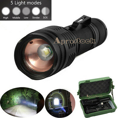 CREE T6 LED Rechargeable Clip Hand Torch Light Lamp Flashlight Zoomable 5000LM