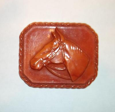 Vintage CARNELIAN COLORED CELLULOID Equestrian Horse Pin