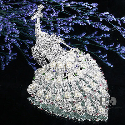 Peacock Crystal Metal Trinket Boxes Animal Figurines Jewelry Collectibles Gifts