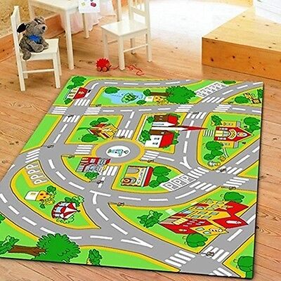HUAHOO Kids' Rug With Roads Kids Rug play mat City Street Map Children Learning