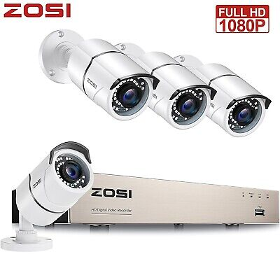 ZOSI 4CH 720P DVR 1500TVL Outdoor 100FT Video CCTV Security Cameras System 1TB