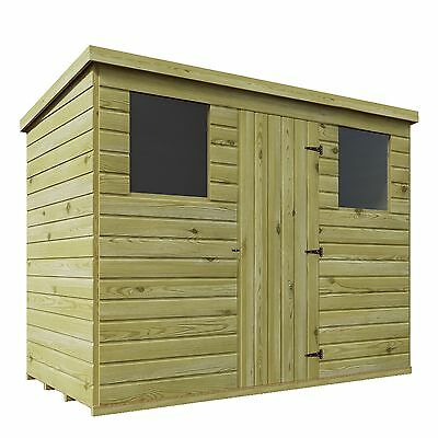 PRESSURE TREATED T&G WOODEN SHIPLAP 7 x 5 GARDEN PENT SHED *W/ 2 WINDOWS