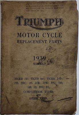 Replacement Parts List for Triumph Motorcycles in 1939