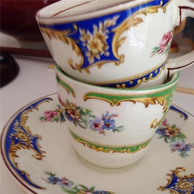 Vintage Barratts of Staffordshire,Chelsea Green and Blue Demitasse Duo's