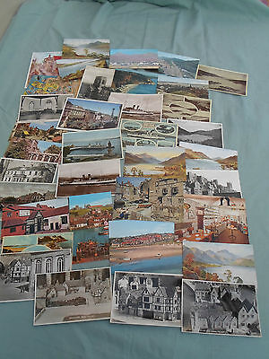 Vintage Lot Of 36 Postcards From Various Uk Great Britain Locations, Some Posted